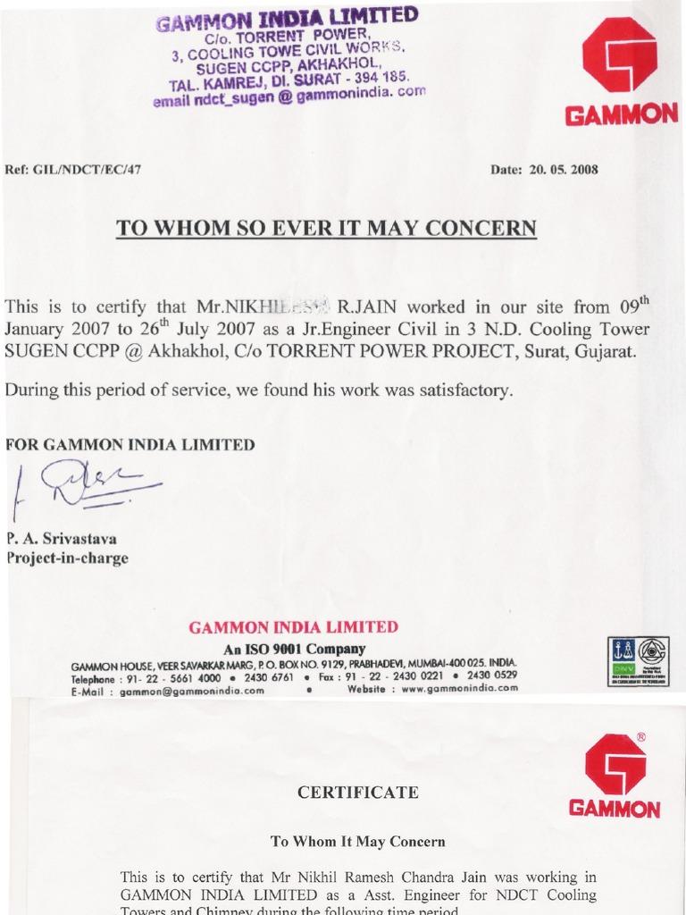 Gammon India Ltd. Certificate