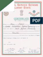 N.S.S. Gujarat State Certificate.