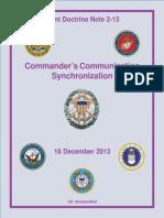 Joint Doctrine Note 2-13 Commander's Communication Synchronization (2013)
