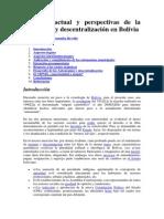 Situación actual y perspectivas de la autonomía y descentralización en Bolivia