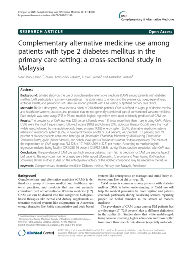 Complementary Alternative Medicine Use Among Patients With
