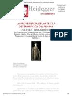 Heidegger en castellano - La proveniencia del arte y la determinación del pensar