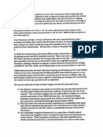 Commissioner Scirocco's letter