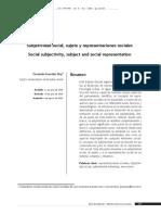 Subjetividad Social, Sujeto y Representaciones Sociales
