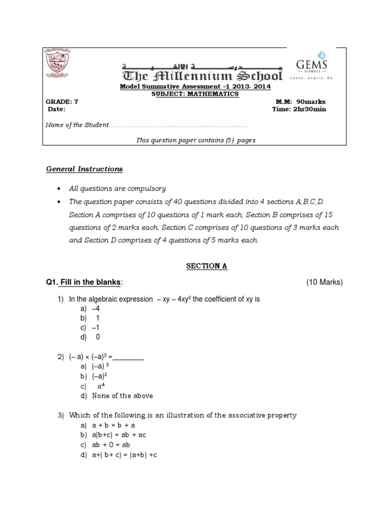 Model Paper -2 for Sa1 (2013-2014) Maths | Mathematical