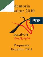 Memoria ECUALTUR 2010 y Propuest 2011