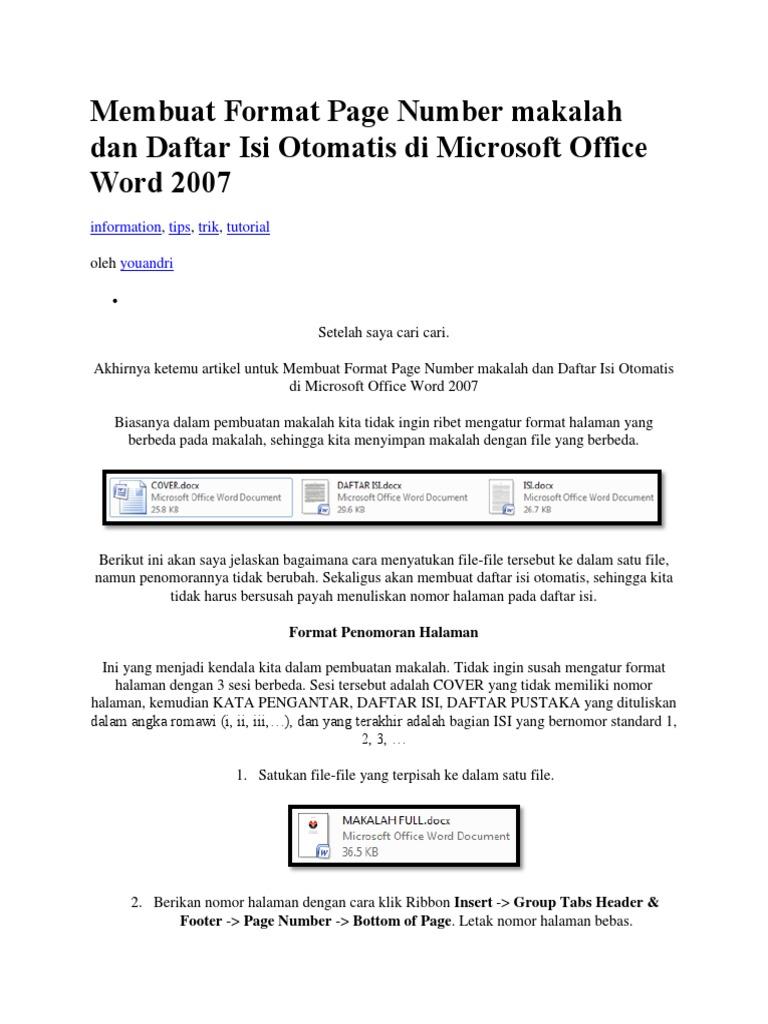 Membuat Format Page Number Makalah Dan Daftar Isi Otomatis Di Microsoft Office Word 2007