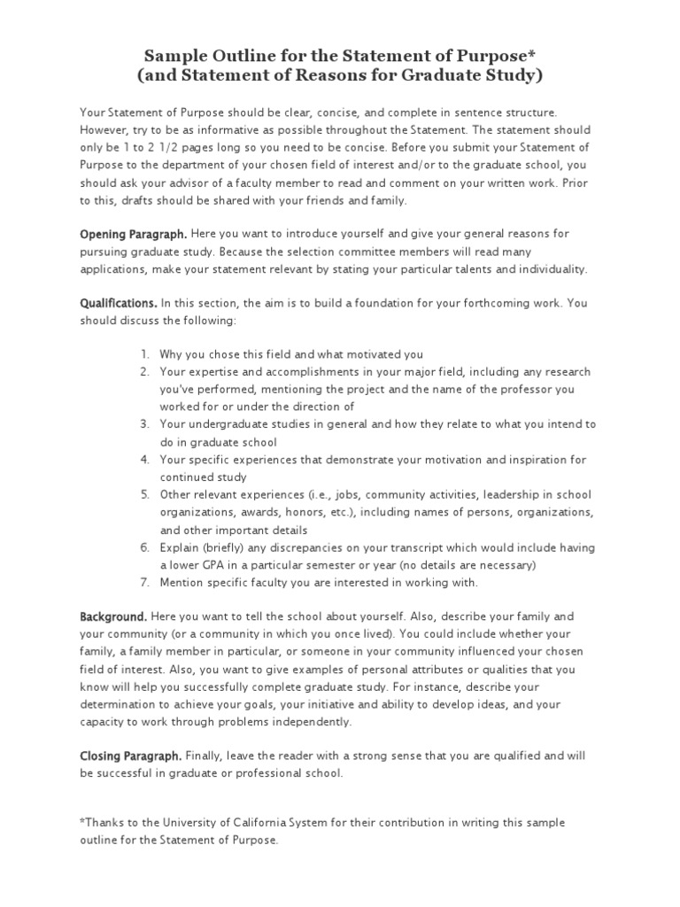 Sample Outline for the Statement of Purpose | Graduate School | Self ...