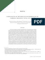 comparação metodos carbono organico total