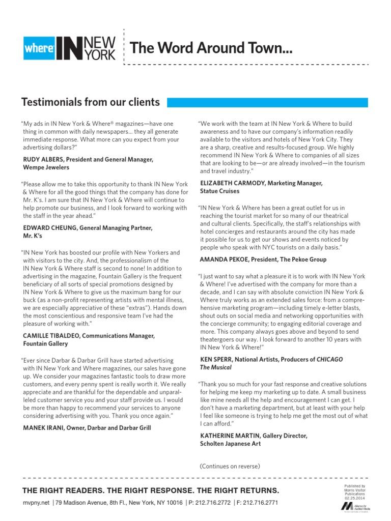 Testimonials | New York City | Advertising