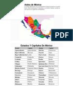 Estados y Capitales de Mexico