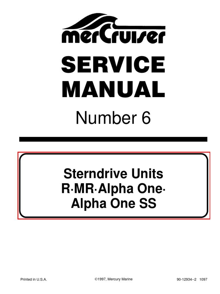 mercruiser service manual 6 outdrives r mr alpha one alpha ss rh scribd com
