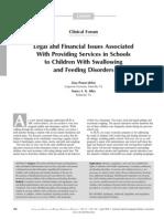 Dysphagia Temas legales y financieros asociados Con Prestación de servicios en las escuelas para niños con trastornos de deglución y Alimentación