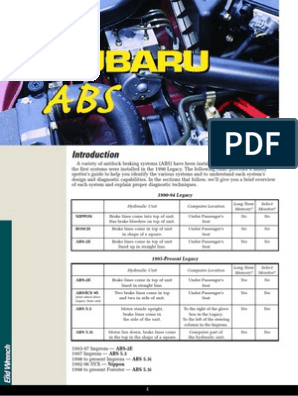 Subaru Outback Fault Codes