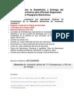 Requisitos para la Expedición y Entrega del Pasaporte Electrónico para Oficinas Regionales