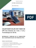 Calentador Solar Con Tubo de Cpvc