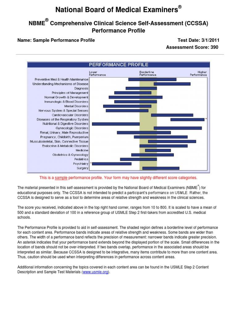 Sample CCSSA | Examen de licencias médicas de los Estados