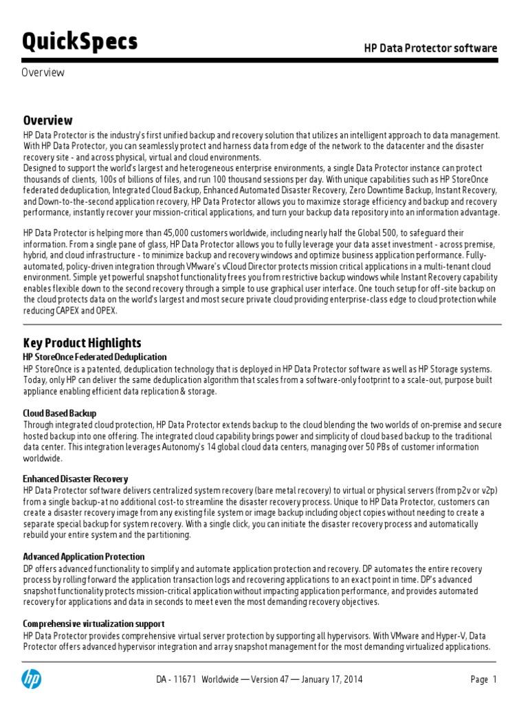 Array - quickspecs hp data protector software   backup   internet      rh   scribd com