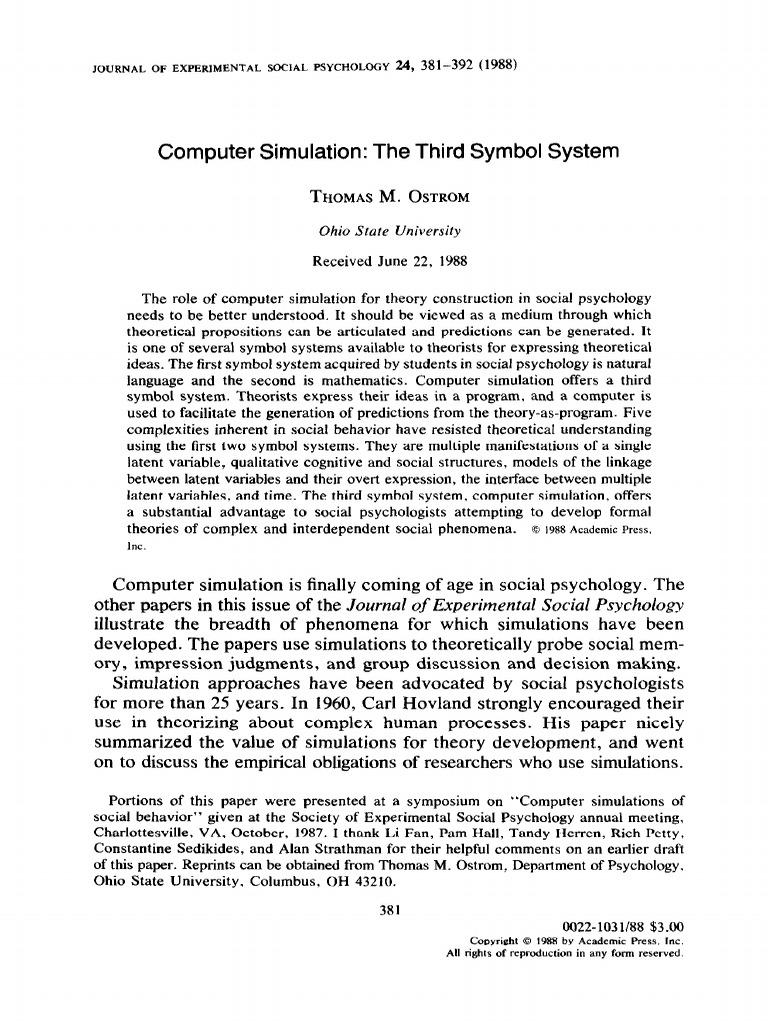 Computer Simulation The Third Symbol System Social Psychology