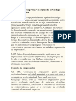 Conceito de empresário segundo o Código Civil Brasileiro