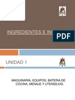 Ingredientes e Insumos Diapositivas