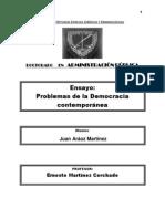 ENSAYO PROBLEMAS DE LA DEMOCRACIA CONTEMPORÁNEA