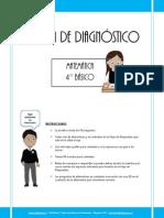 Prueba de Diagnostico Matematica 4basico 2013