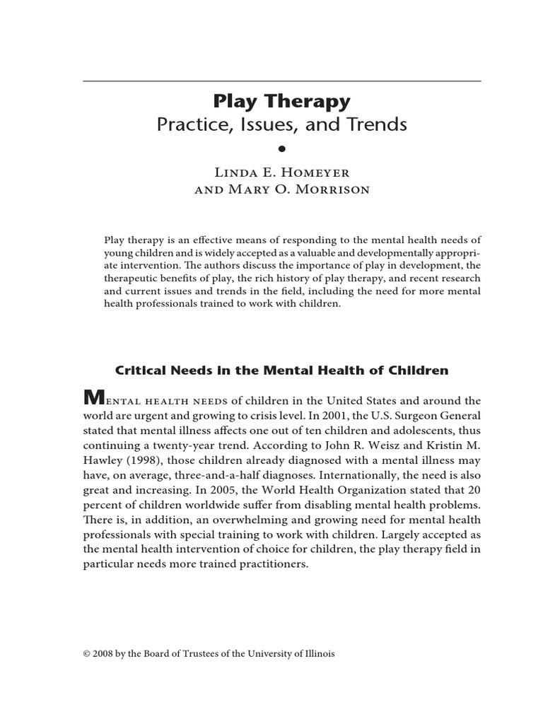 1 2 Article Play Therapy 1 Play Therapy Psychotherapy