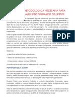 Propuesta Metodologica Necesaria Para Validar Analisis Fisicoquimico de Lipidos