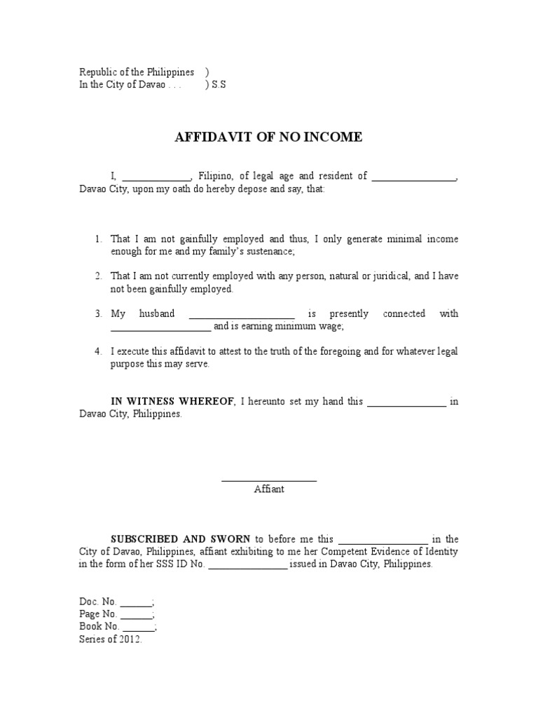 Affidavit Of No Income  Letter Of Affidavit Template