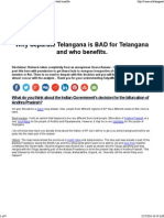 Why Separate Telangana is BAD for Telangana and Who Benefits