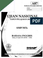 Naskah Soal UN Bahasa Inggris SMP (Paket A87)