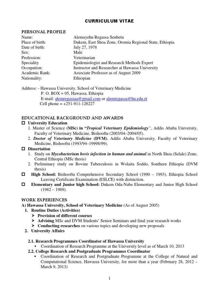 Alemayehu Regassa Senbetu, Ethiopia | Veterinary Physician | Thesis