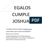 Regalos Cumple Joshua