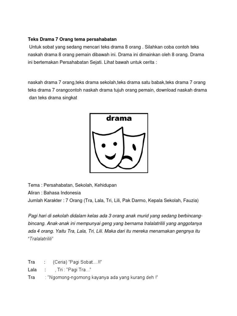 Teks Drama 7 Orang Tema Persahabatan