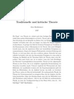 Horkheimer - Traditionelle Und Kritische Theorie