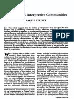 Journalists as Interpretive Communities Zelizer