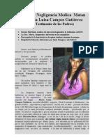 Dengue y Negligencia Medica en Nicaragua Matan a Maria Luisa Campos Rodriguez