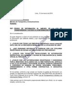 MODELO DE CARTA DE PEDIDO DE INFORMACIÓN AL AMPARO DE LA LEY DE TRANSPARENCIA Y ACCESO A LA INFORMACIÓN PÚBLICA