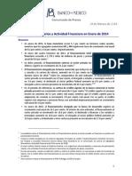 Agregados Monetarios y Actividad Financiera en Enero 2014 (28 Febrero 2014)