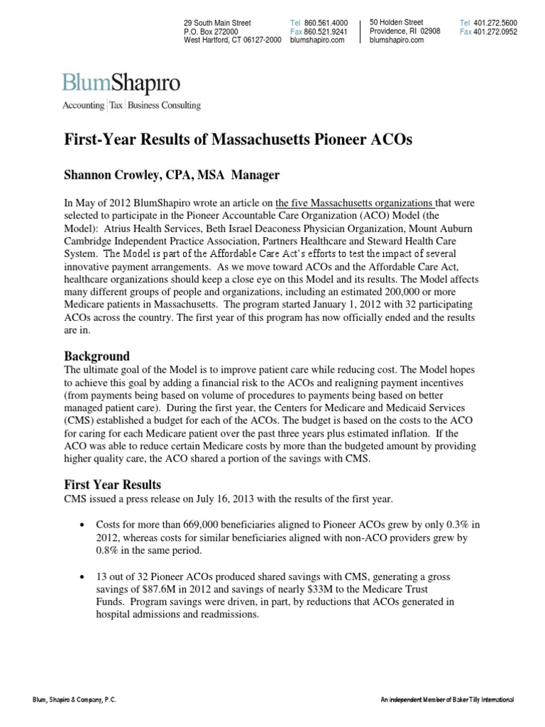 ce68ff944fd72b First-Year Results of Massachusetts Pioneer ACOs