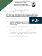 Clarification-Addendum Cgl 2013