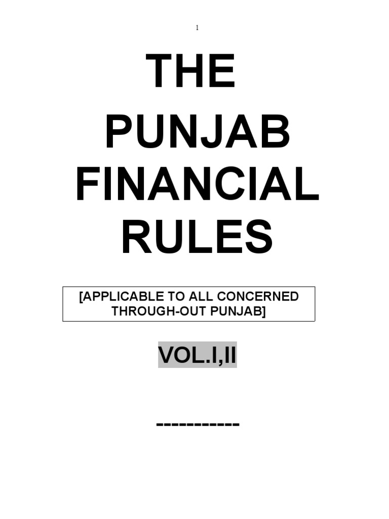 Punjab financial rules pfr volume 1 cheque payments altavistaventures Image collections