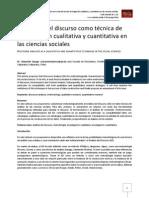 El análisis del discurso como técnica de investigación cualitativa y cuantitativa en las ciencias sociales
