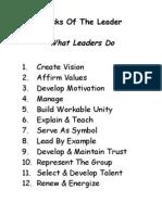 Tasks of the Leader