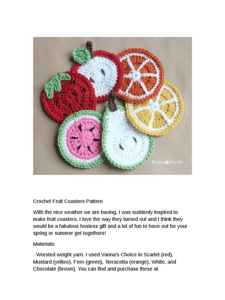 Crochet Fruit Coasters Pattern | Crochet | Clothing Industry