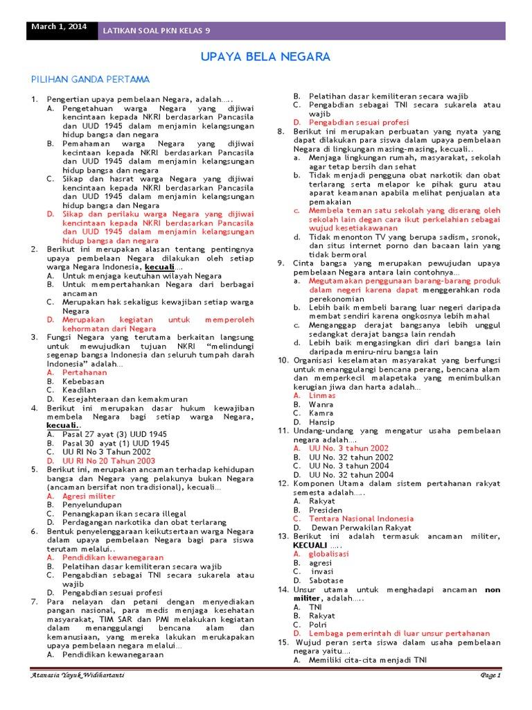 Soal Latihan Jawaban Upaya Bela Negara Part 1