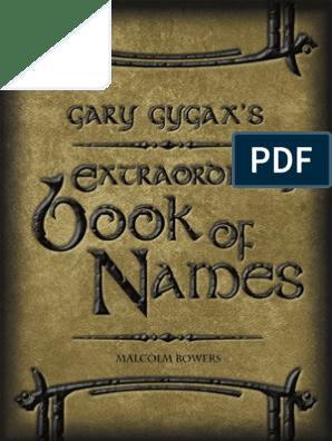 Gary Gygax S Extraordinary Book Of Names Copyright