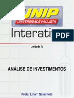Slide Tele Aula Análise de investimentos - Unidade IV