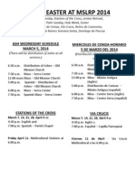 Lent and Easter Liturgy Schedule 2014